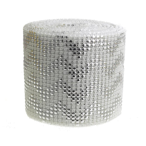 Chevron Rhinestone Diamond Wrap Ribbon, 4-1/2-inch, 10-yard, Silver