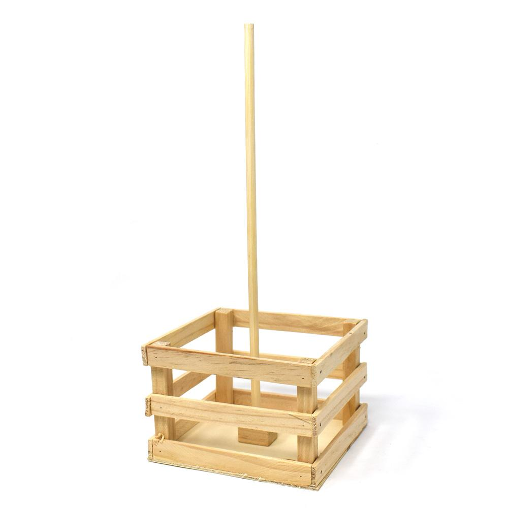 Mini Wooden Crate With Dowel Natural 5 Inch