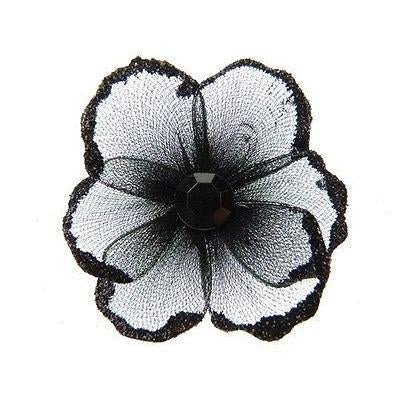 Organza Glitter Nylon, Mini Flower, 2-inch, 12-Piece, Black