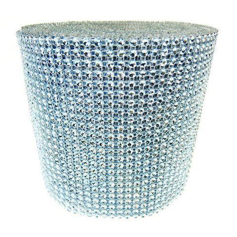 Rhinestone Diamond Wrap Ribbon, 4-3/4-Inch, 10 Yards, Light Blue