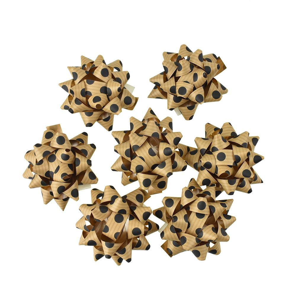 Self-Adhesive Pre-tied Star Bows, 2-Inch, 25-Piece, Kraft Paper/Black Dots