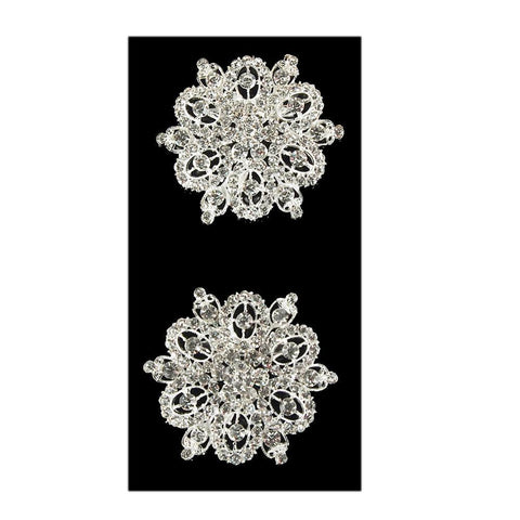 Antique Floral Rhinestone Crystal Brooches, Silver, 2-1/2-Inch, 2-Piece
