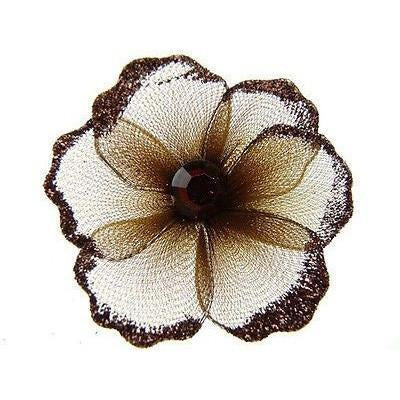 Organza Glitter Nylon, Mini Flower, 2-inch, 12-Piece, Brown