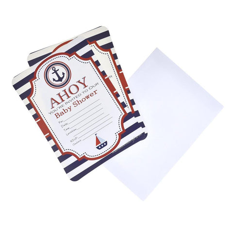 """Ahoy!"" Sailor Baby Shower Invitation Set, 7-Inch, 12-Piece"