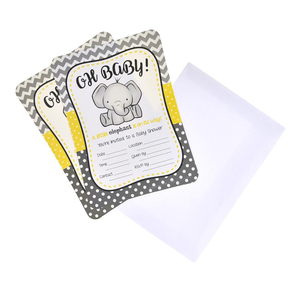 Baby Elephant Baby Shower Invitation Set, 7-Inch, 12-Piece