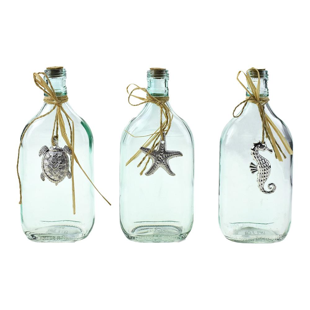 Glass Bottles with Sea Animal Charms, 8-Inch, 3-Piece