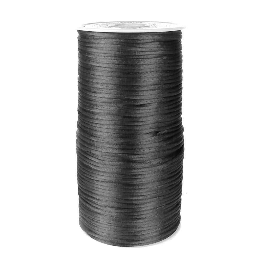 Satin Rattail Cord Chinese Knot, 1/16-Inch, 200 Yards, Black