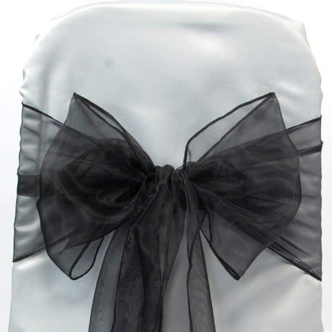 Organza Chair Bow Sash, 9-inch, 10-feet, 6-piece, Black