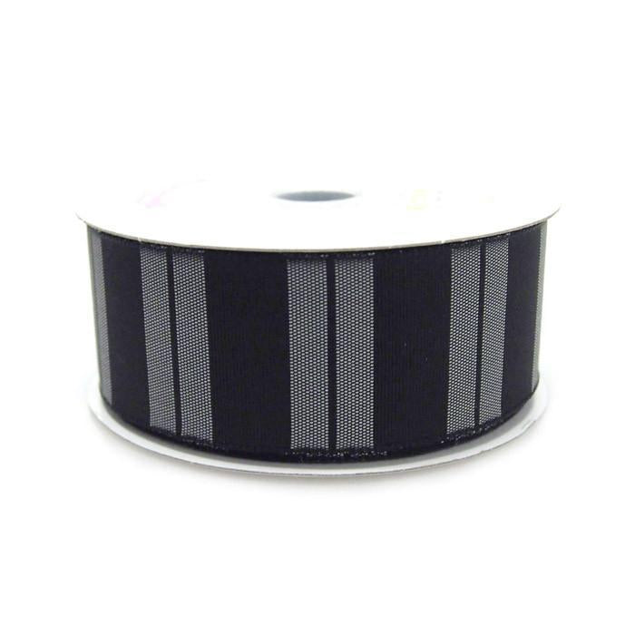 Color Vertical Lines Poly Ribbon, 1-1/2-Inch, 10 Yards, Black