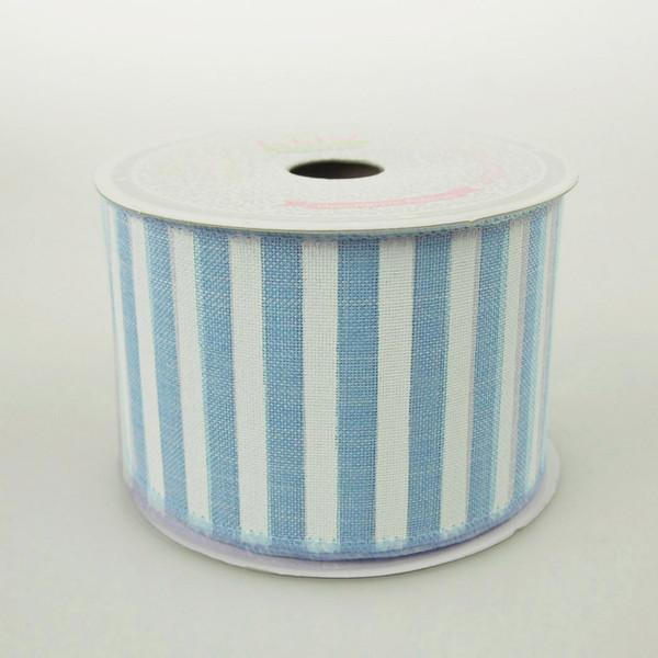 White Bold Lines Canvas Ribbon, 2-1/2-Inch, 10 Yards, Blue