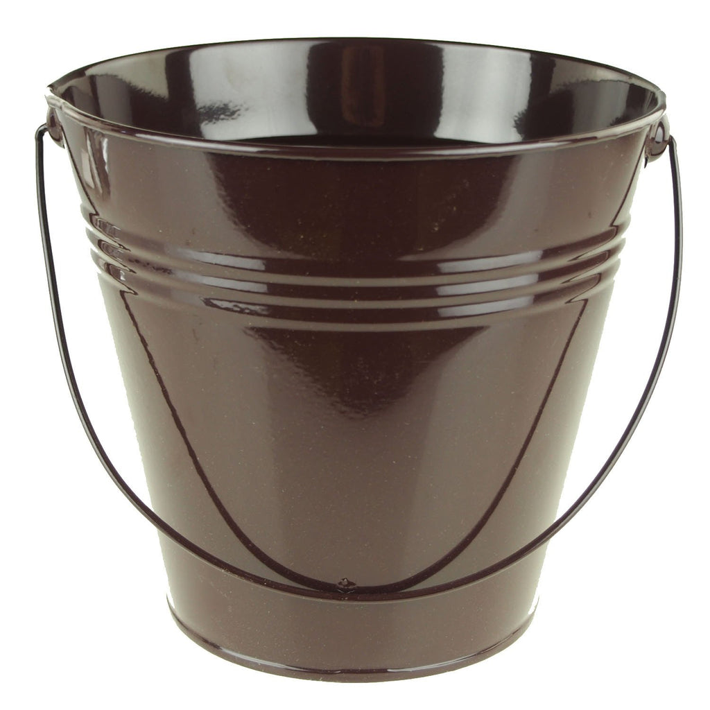 Metal Pail Bucket Party Favor, 7-Inch, Brown