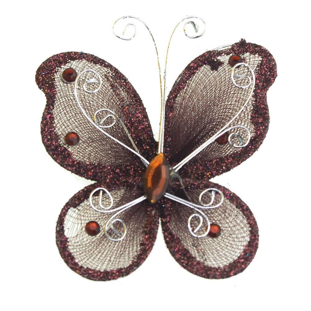 Organza Nylon Glitter Butterflies, 3-inch, 12-Piece, Brown