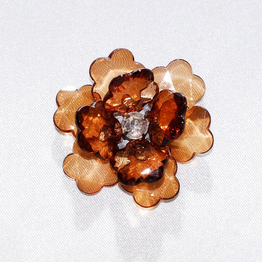 Flower Lotus Crystal, Shredded Edge, 1-3/4-inch, 6-Piece, Brown