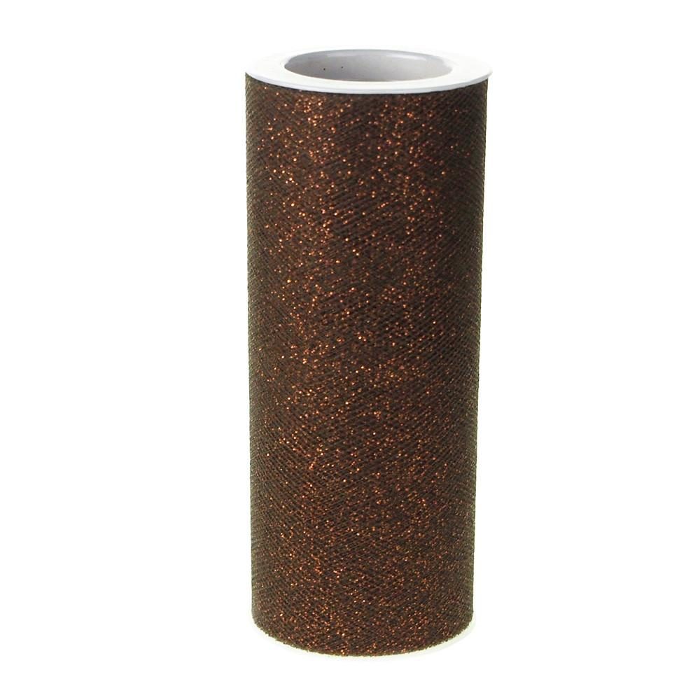 Glitter Tulle Spool Roll, 6-Inch, 10 Yards, Brown