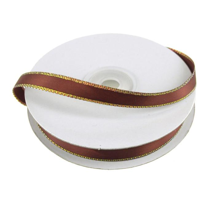 Satin Ribbon with Iridescent Edge, 3/8-Inch, 25 Yards, Brown