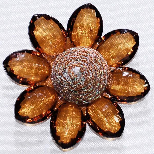 Sunflower Acrylic Crystal Flower, 1-3/4-inch, 6-Piece, Copper Brown