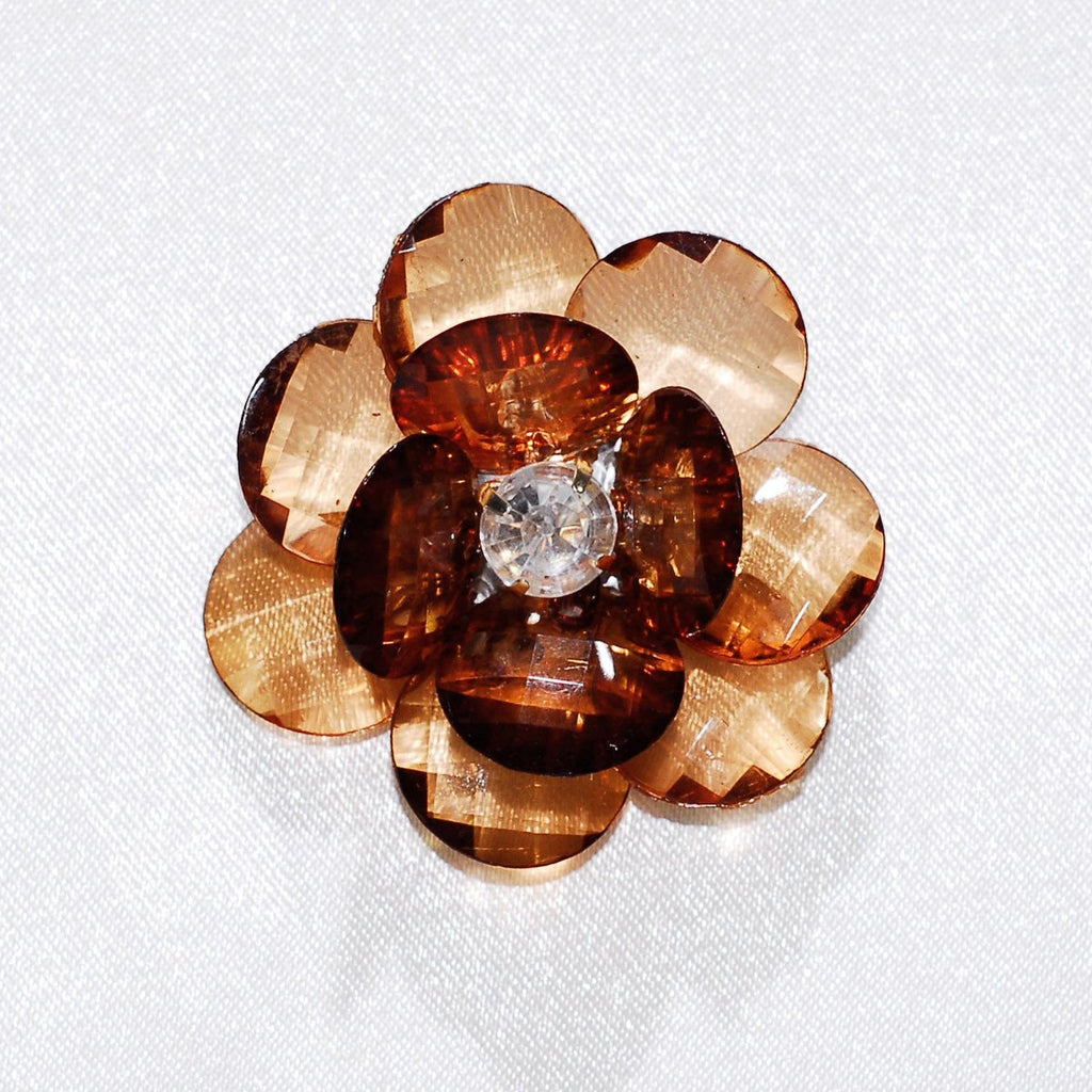 Flower Crystal Lotus, Round Edge, 1-3/4-inch, 6-Piece, Brown