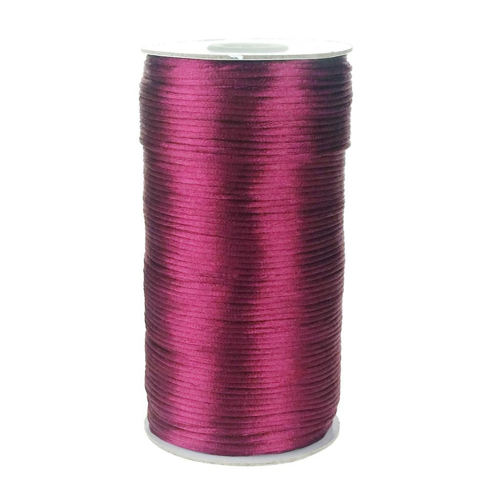 Satin Rattail Cord Chinese Knot, 1/16-Inch, 200 Yards, Wine