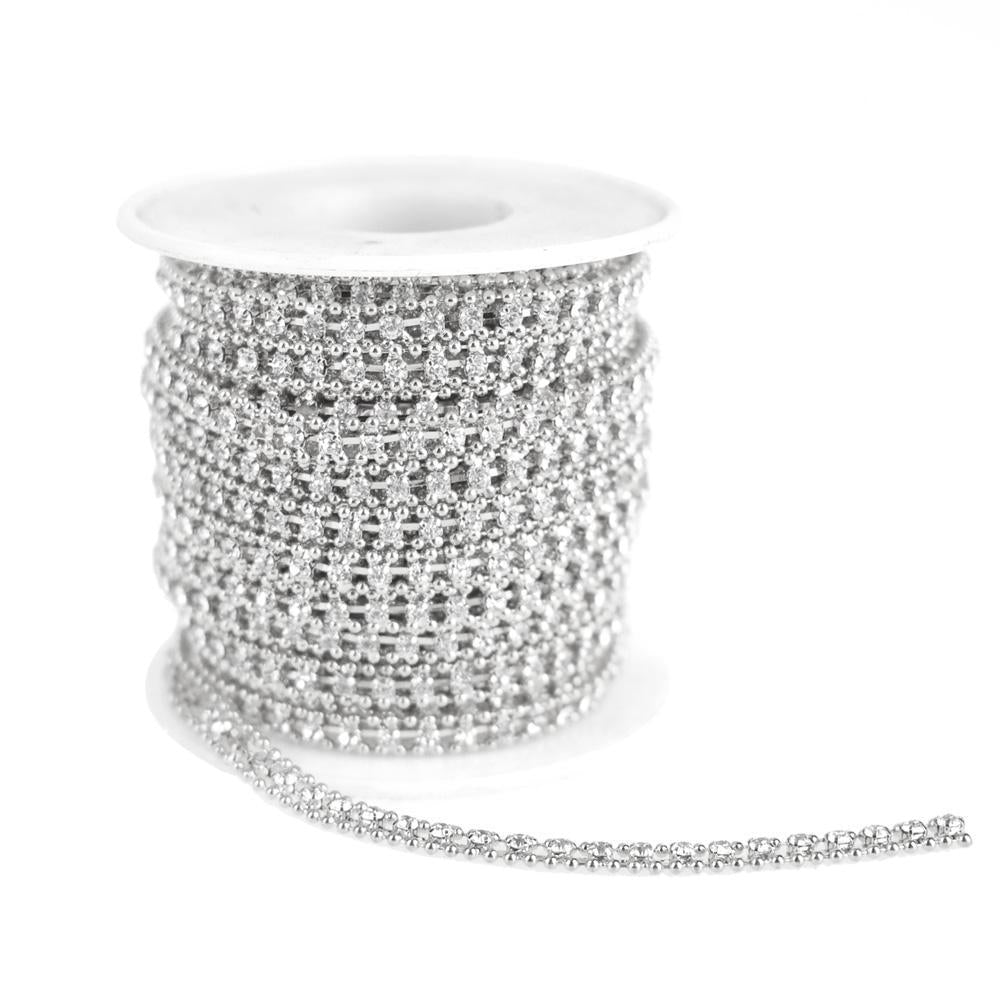 Beaded Edge Diamond Rhinestone Link Roll, Silver, 5mm, 9-Yard