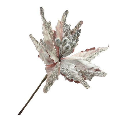 Platinum Poinsettia Floral Pick, Rose Gold, 15-Inch