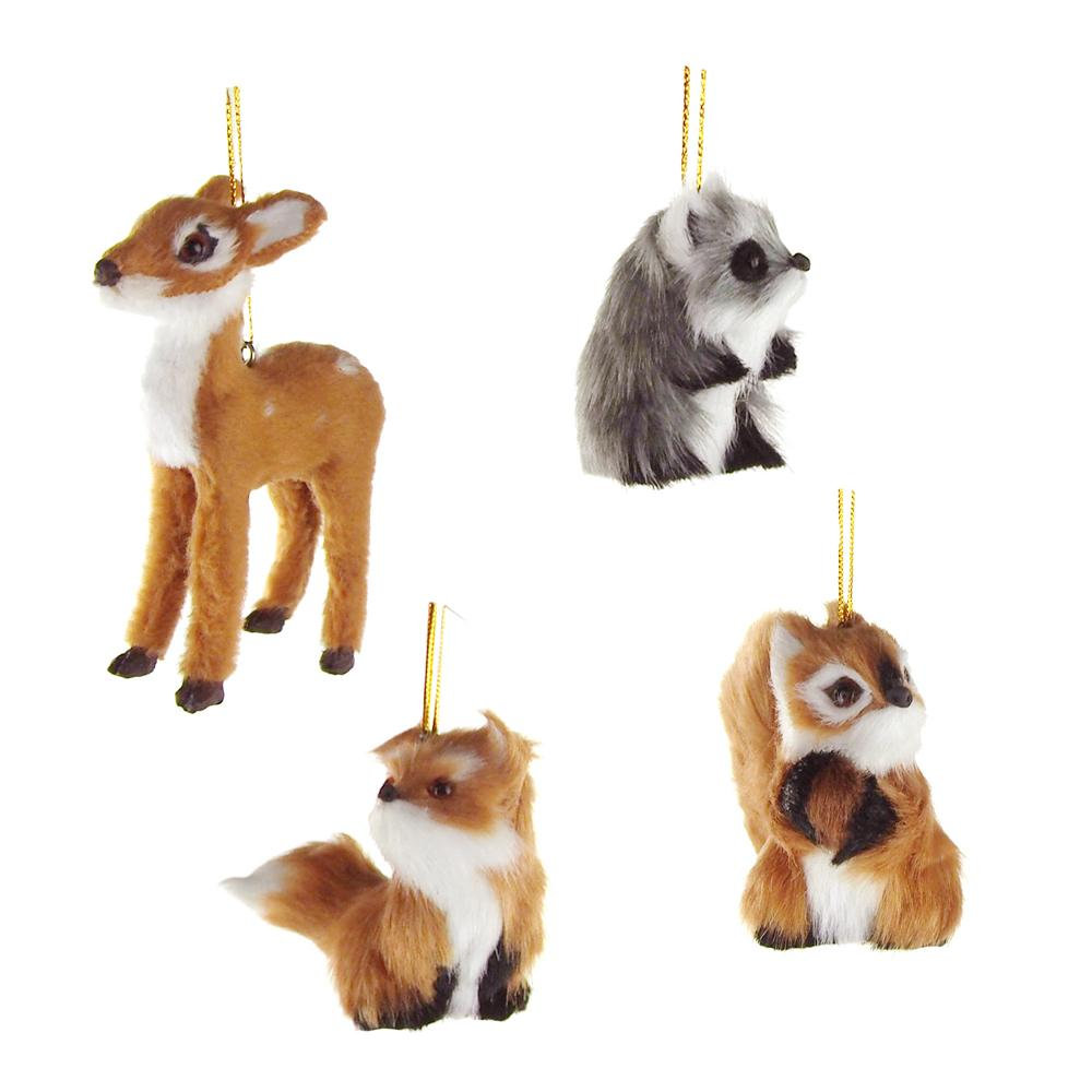 plush animal christmas ornaments natural 4 inch 4 piece - Animal Christmas Decorations