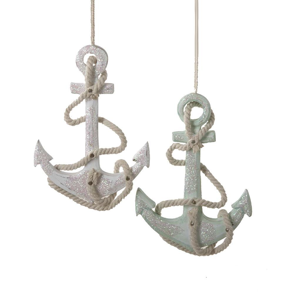 Tropical Glitter Anchor Christmas Ornaments, 4-1/2-Inch, 2-Piece