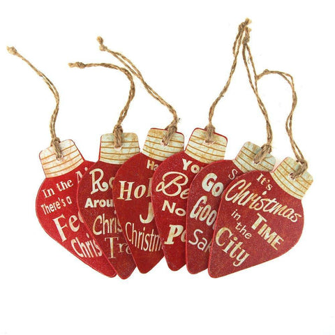Holiday Script Light Bulb Wood Ornaments, Red, 4-Inch, 6-Piece