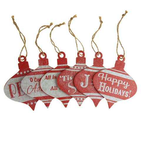 Christmas Greetings Onion Wood Ornaments, Red, 4-Inch, 6-Piece