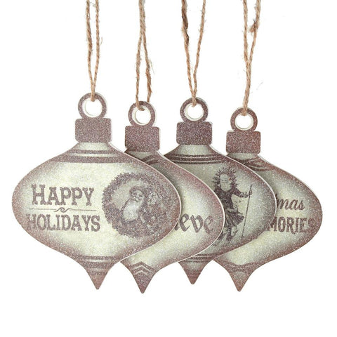 Holiday Greetings Onion Wood Ornaments, Brown, 4-Inch, 4-Piece
