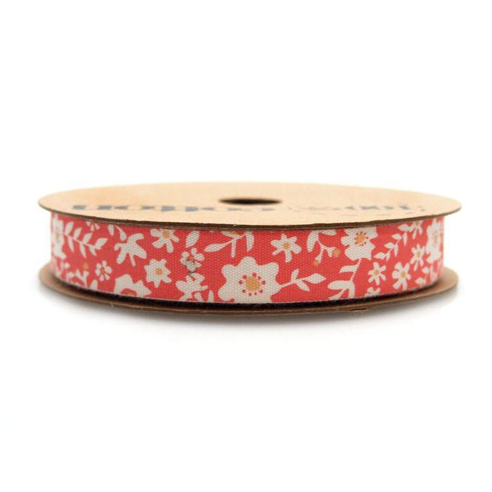 White Flowers Cotton Ribbon, 5/8-Inch, 10 Yards, Red