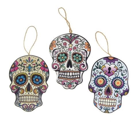 Wooden Skull Assorted Christmas Tree Ornaments, 6-Inch, 3-Piece