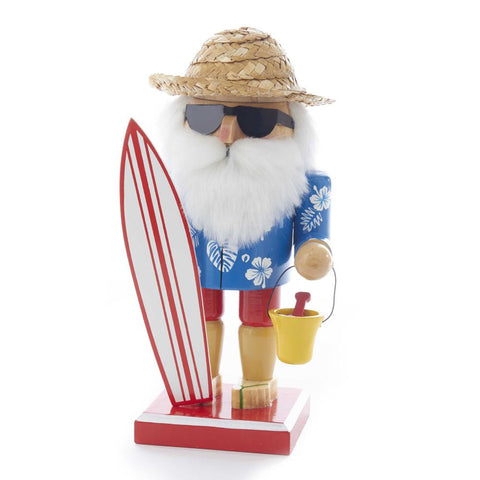 Beachside Surfer Santa Christmas Nutcracker, 8-Inch