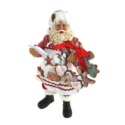 Ceramic Gingerbread Santa Decorating Wreath, 11-Inch