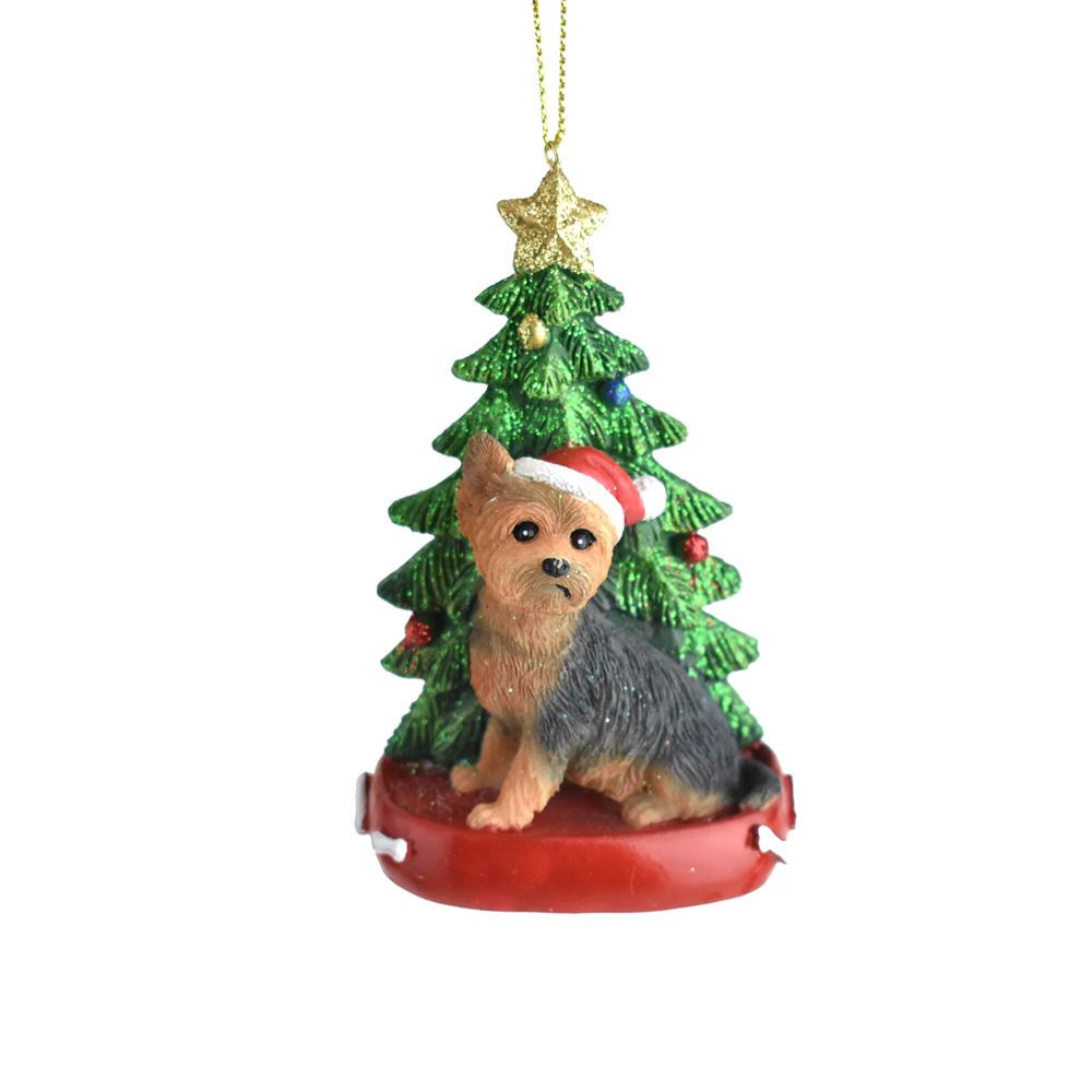 Santa Hat Yorkie with Christmas Tree Ornament, 4-1/4-Inch