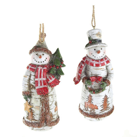 Birch Snowman Christmas Ornaments, White, 5-Inch, 2-Piece