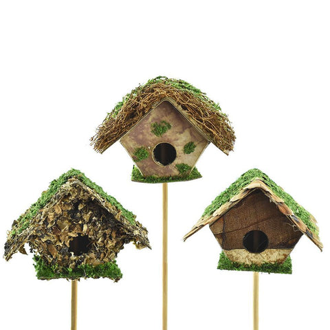 A-Shaped Mossy Mini Birdhouse Picks, 2-Inch, 3-Piece