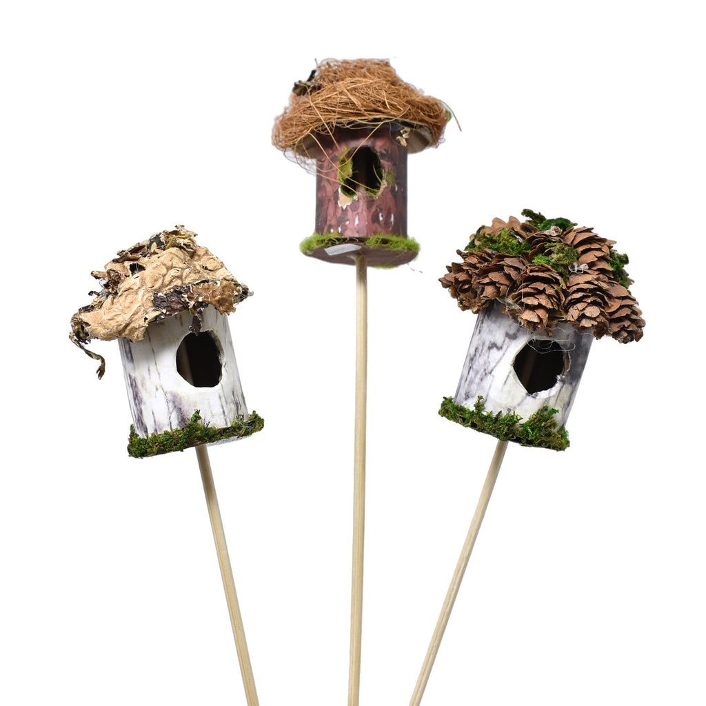 Decorative Mini Birdhouse Picks, 12-Inch, 3-Piece