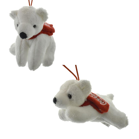 Coke Sitting and Laying Polar Bears Ornaments, Red/White, 2-Piece