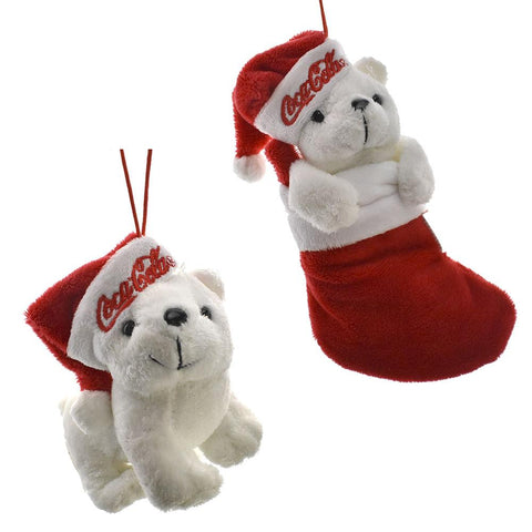 Coke Standing and Stocking Bear Ornaments, Red/White, 2-Piece