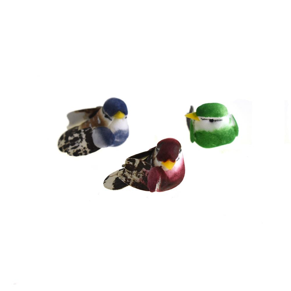 Craft Foam Mini Birds, Burgundy/Green/Royal, 1-Inch, 3-Piece