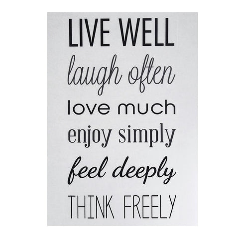 """Live Well, Laugh Often"" Quotes Wall Art Sticker, 12-Inch"