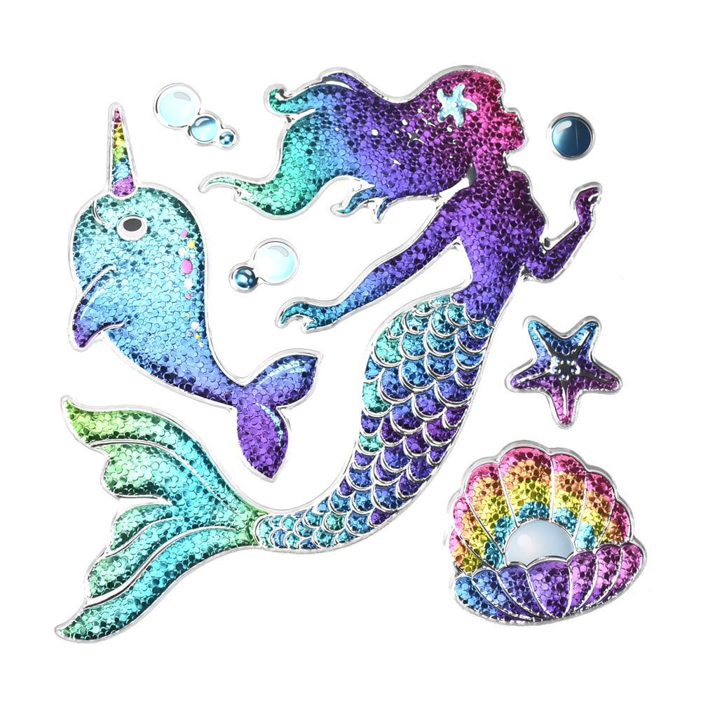 Mythical Mermaid Glitter Sequin Wall Art, 7-Piece
