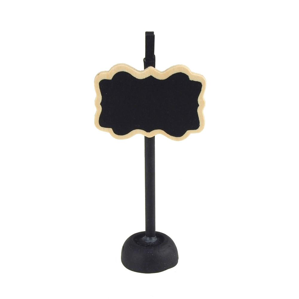 Chalkboard Wooden Card Holder, Bracket w/ Border, 4-1/2-Inch, Black