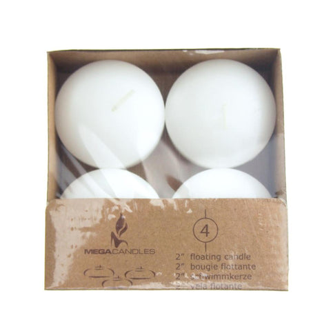 Unscented Floating Round Candles, White, 2-Inch, 4-Piece