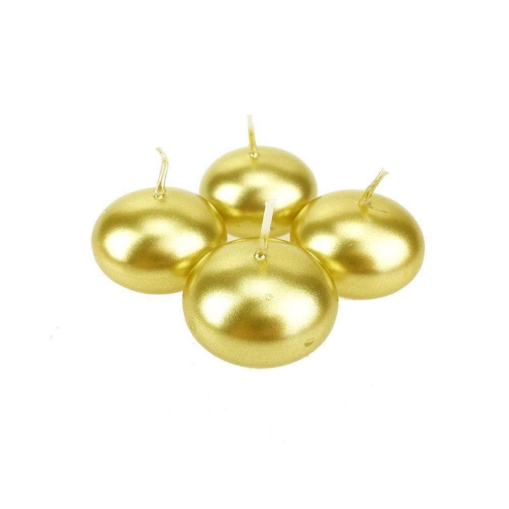 Metallic Floating Disc Unscented Candles, 1-1/2-Inch, 12-Count, Gold