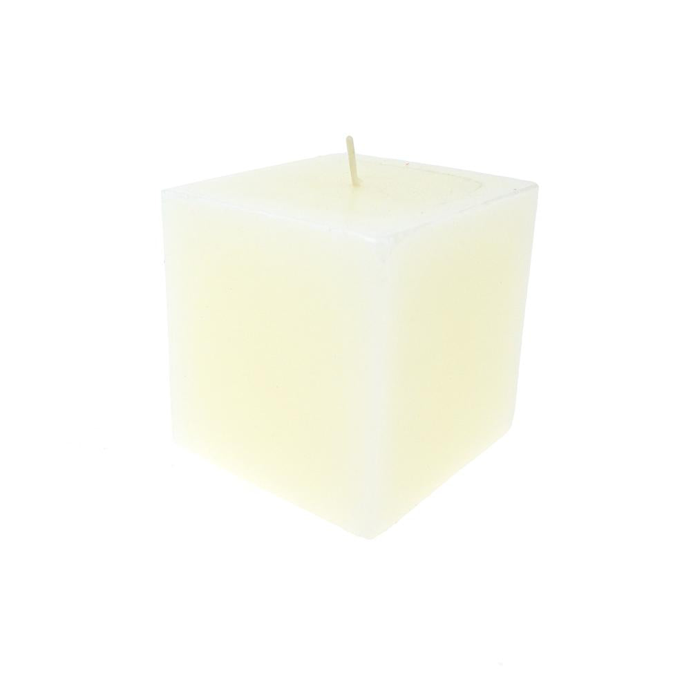 Square Unscented Pillar Candle, 3-Inch, Ivory