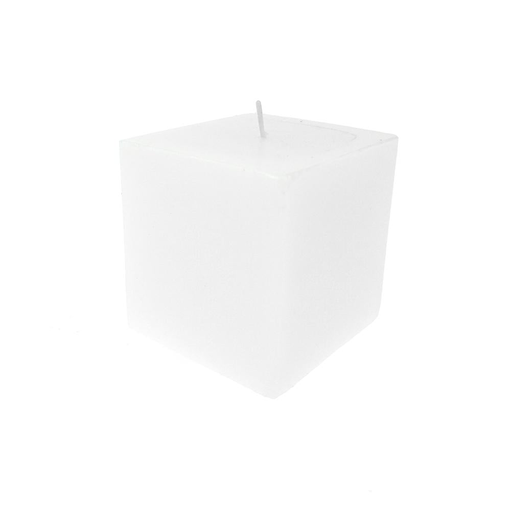 Square Unscented Pillar Candle, 3-Inch, White