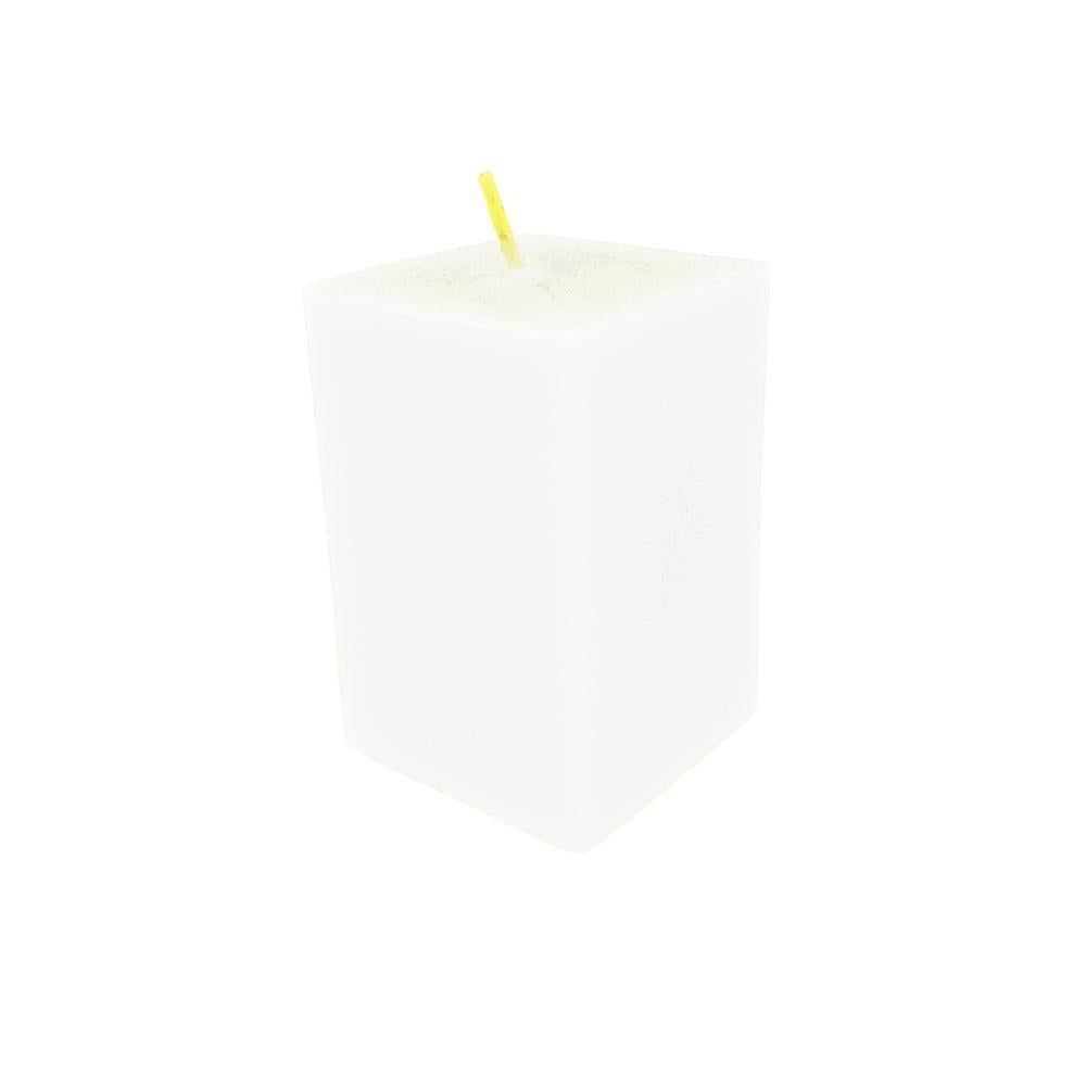 Rectangular Unscented Pillar Candle, 3-Inch, White