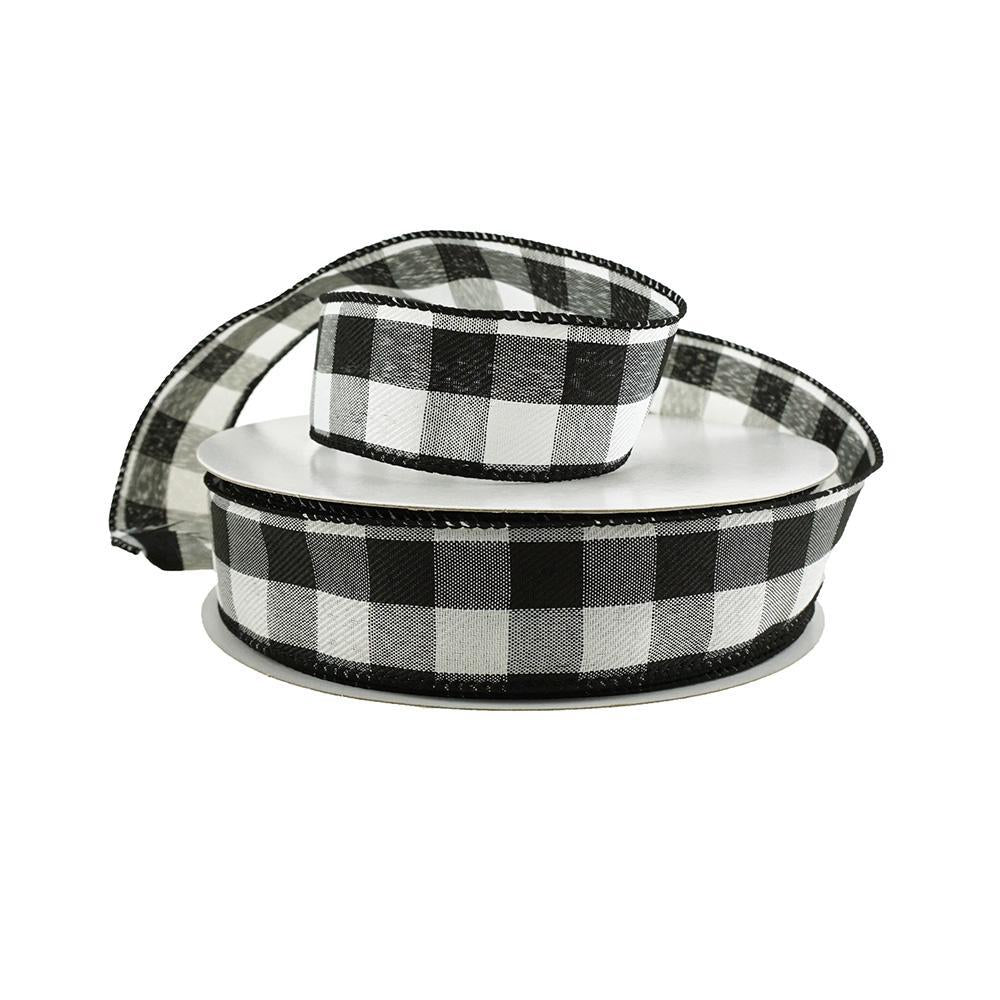 Woven Buffalo Plaid Wired Ribbon, 1-1/2-Inch, 50-Yard, White