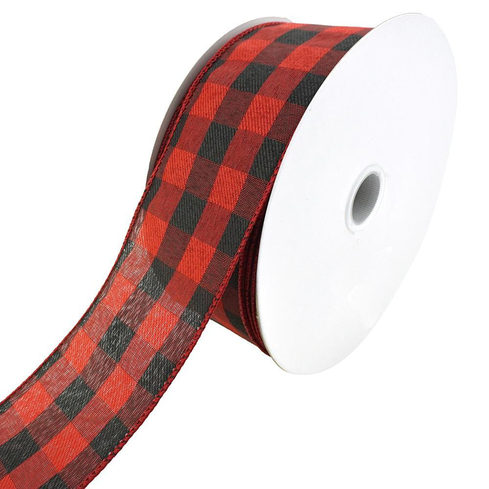 Woven Buffalo Plaid Wired Ribbon, 2-1/2-Inch, 50-Yard, Red